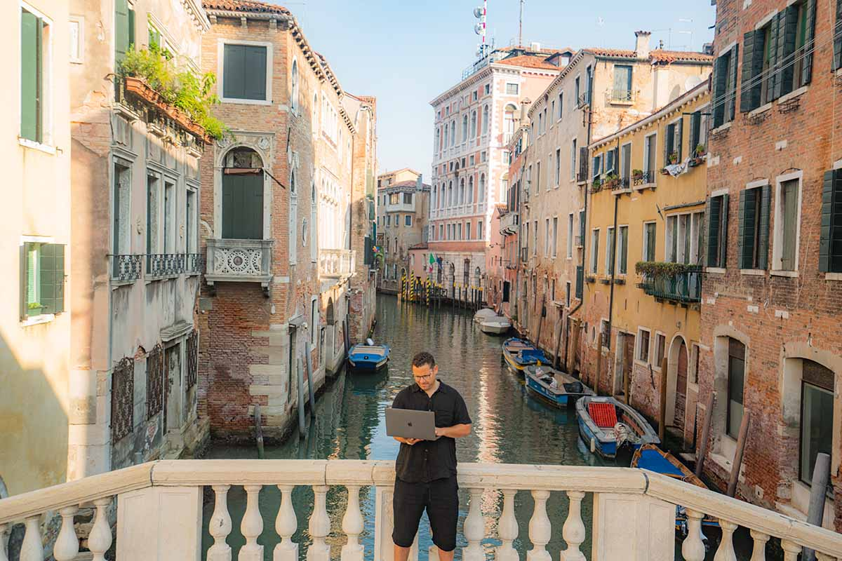 Tim Sykes giving top tested trading tip from Venice, Italy 2021